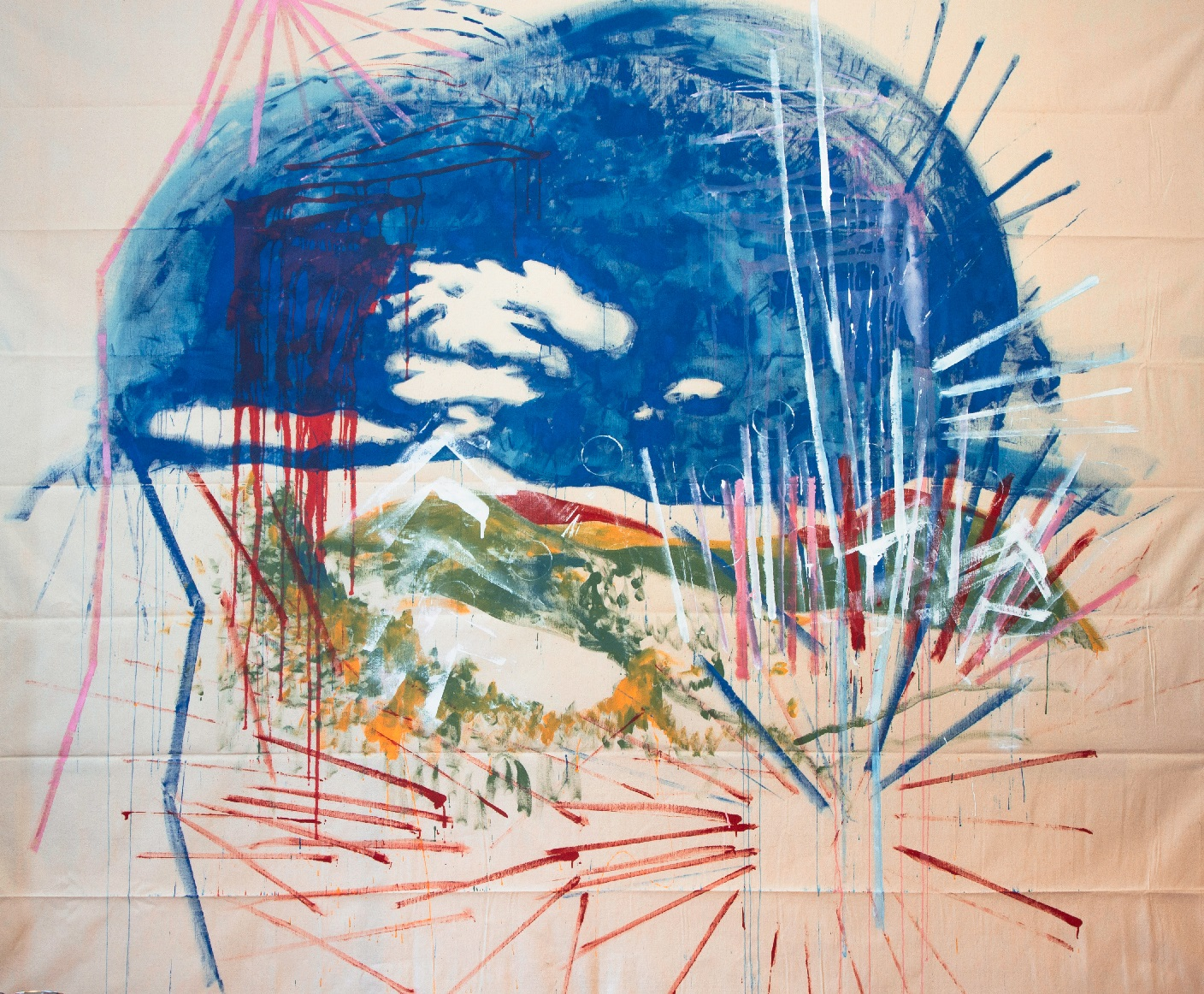 Michael Rotondi, Mountain And Sky, smalto su cotone, 240x280 cm., 2016