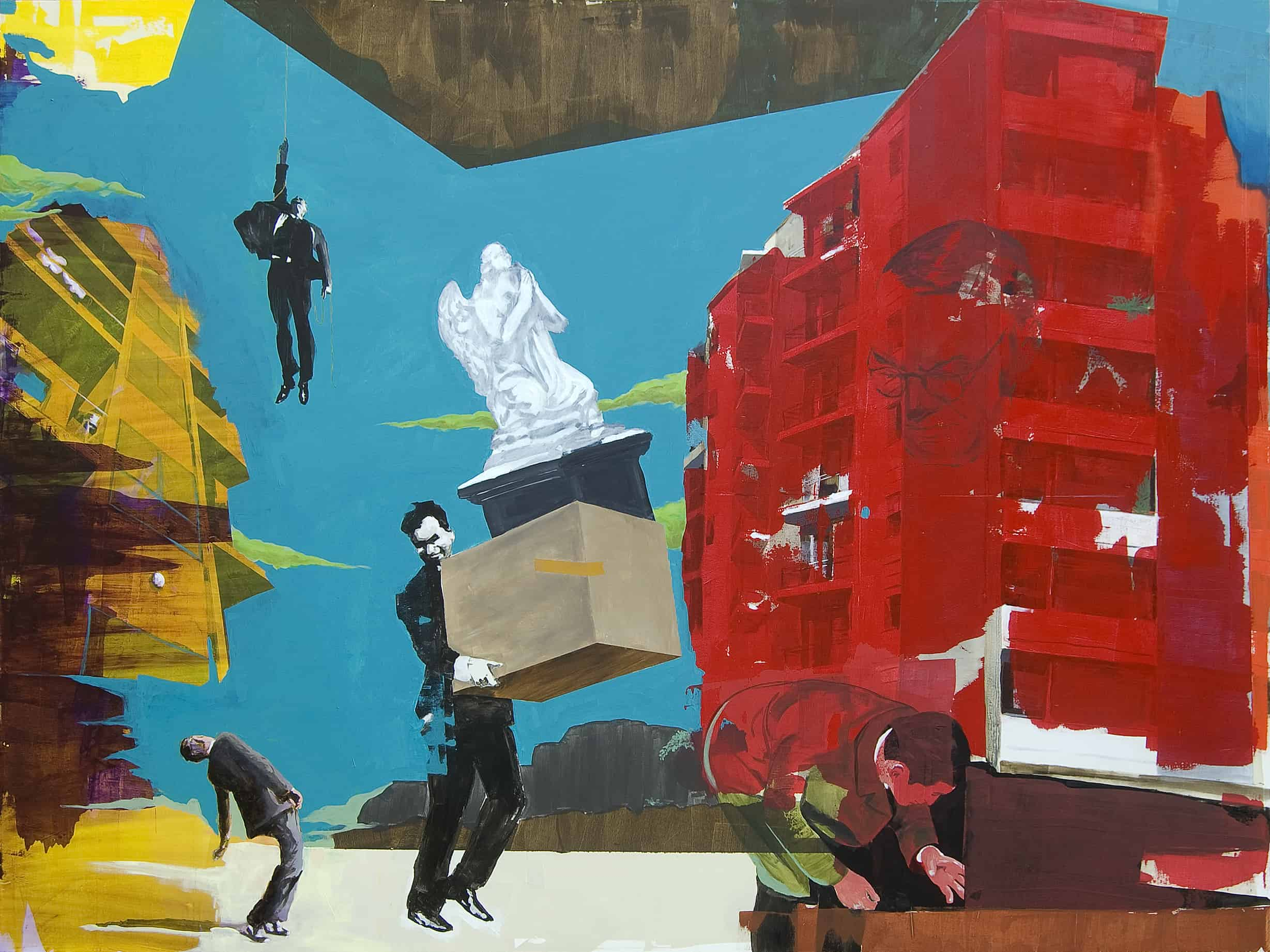 Paolo De Biasi, The great escape, tecnica mista su tela, 150x200 cm., 2010